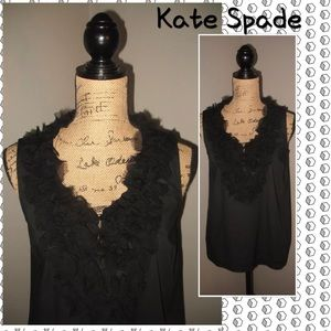 KATE SPADE NEW YORK Size 4 Black Ruffled Top